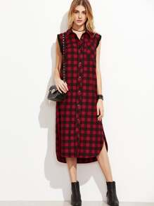 Red Checkered Frayed Trim Sleeveless Shirt Dress
