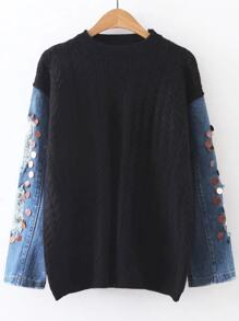 Black Cable Knit Sequin Ripped Denim Sleeve Sweater