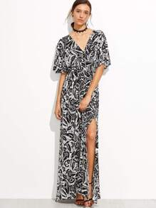 Black And White Tropicals Print Split Side Maxi Dress