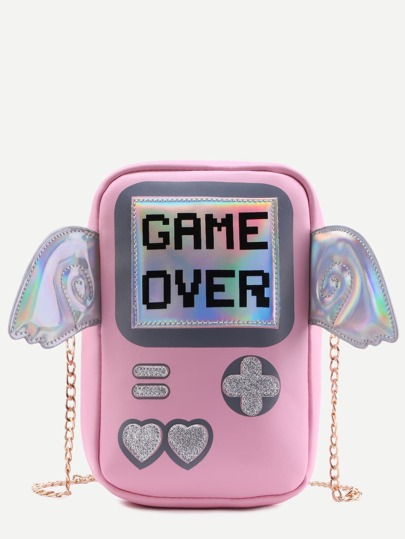 Pink Game Console Chain Bag With Wings
