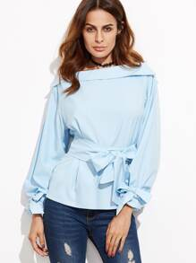 Blue Foldover Boat Neck Belted Waist And Cuff Blouse