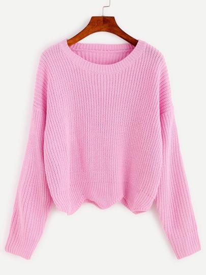 Pink Wave Hem Drop Shoulder Knit Sweater