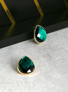Teardrop Faux Jewel Earrings EMERALD
