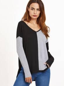 T-shirt couleur bloc manche longue