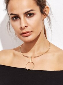 Gold Plated Hollow Circle Metal Choker Necklace