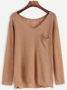 Khaki V Neck High Low Knit T-shirt