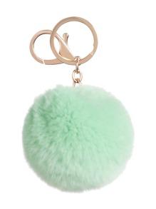 Mint Green Pom Pom Keychain