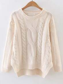White Cable Knit Asymmetrical Hem Sweater