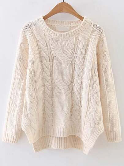 White Cable Knit Asymmetrical Hem Sweater