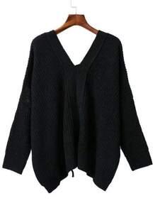 Black V Neck Lace Up Back Drop Shoulder Sweater