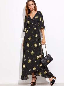 Black Flower Print Self Tie Warp Dress