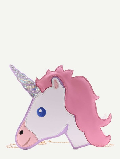 Cute Color Block Unicorn Bag With Chain