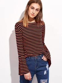 Contrast Striped Bell Sleeve T-shirt