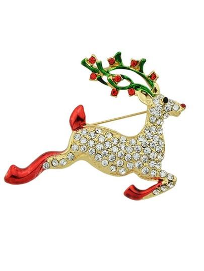 Broche forme de cerf en laque avec strass comme cadeau de Noël - multicolore