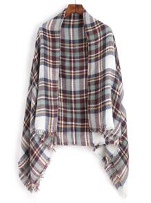 Simple Plaid Raw Edge Square Scarf