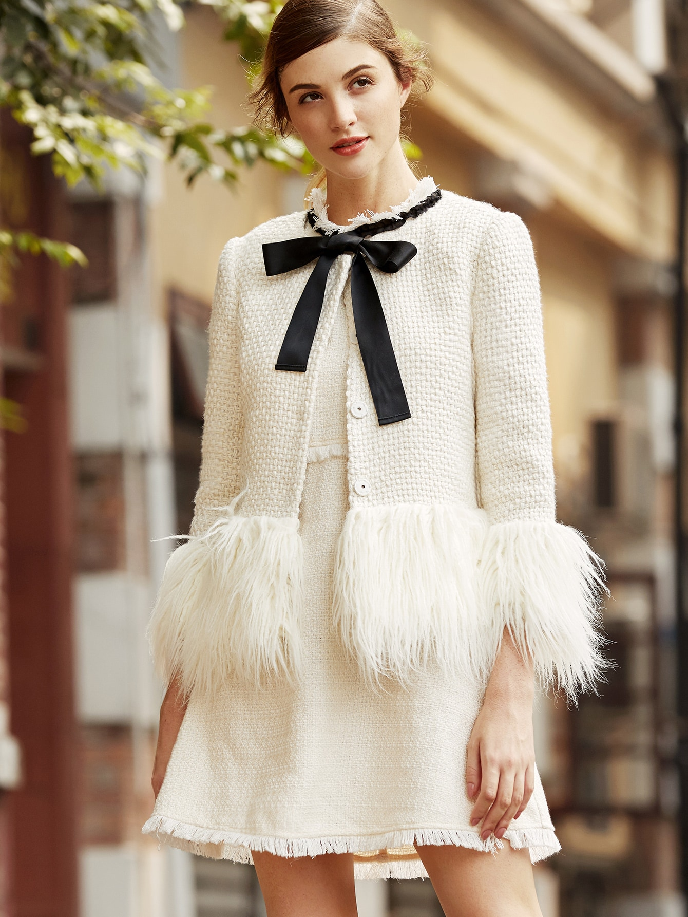 White Faux Fur Trim Tweed Blazer camo insert faux fur trim denim jacket