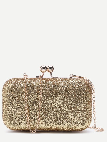 Gold Glitter Evening Bag With Chain