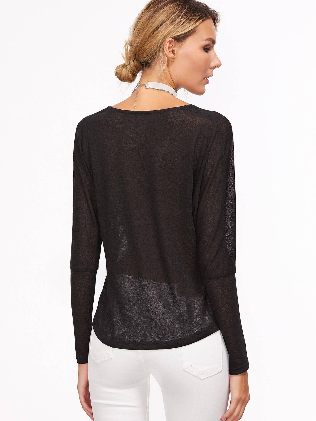Black Zip Neckline Sheer Dolman Sleeve T-shirt