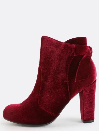 Velvet Ankle Bow Boots BURGUNDY