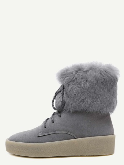 Grey Lace Up Faux Fur Cuff Ankle Boots