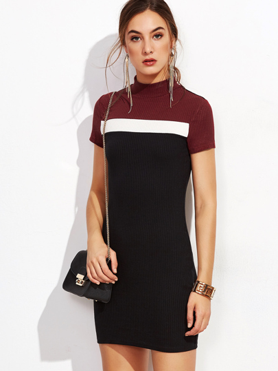 Robe moulante couleur bloc manche courte