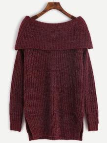 Burgundy Marled Knit Foldover Off The Shoulder Slit Sweater
