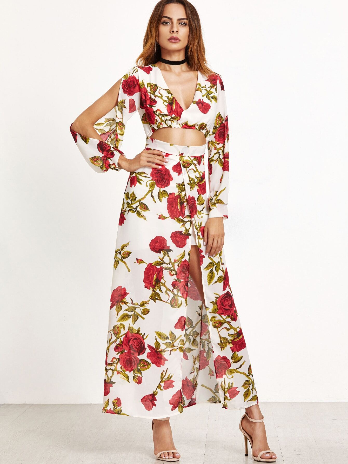 Florals Deep V Neck Cut Out Split Front Dress dress161025101