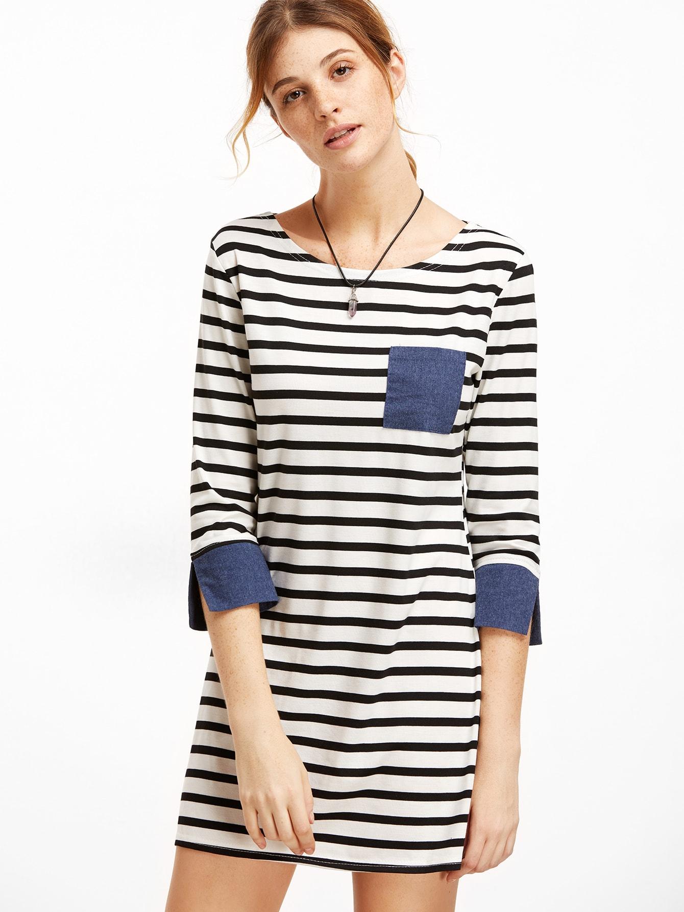 Contrast Trim Striped Tee Dress dress161006301