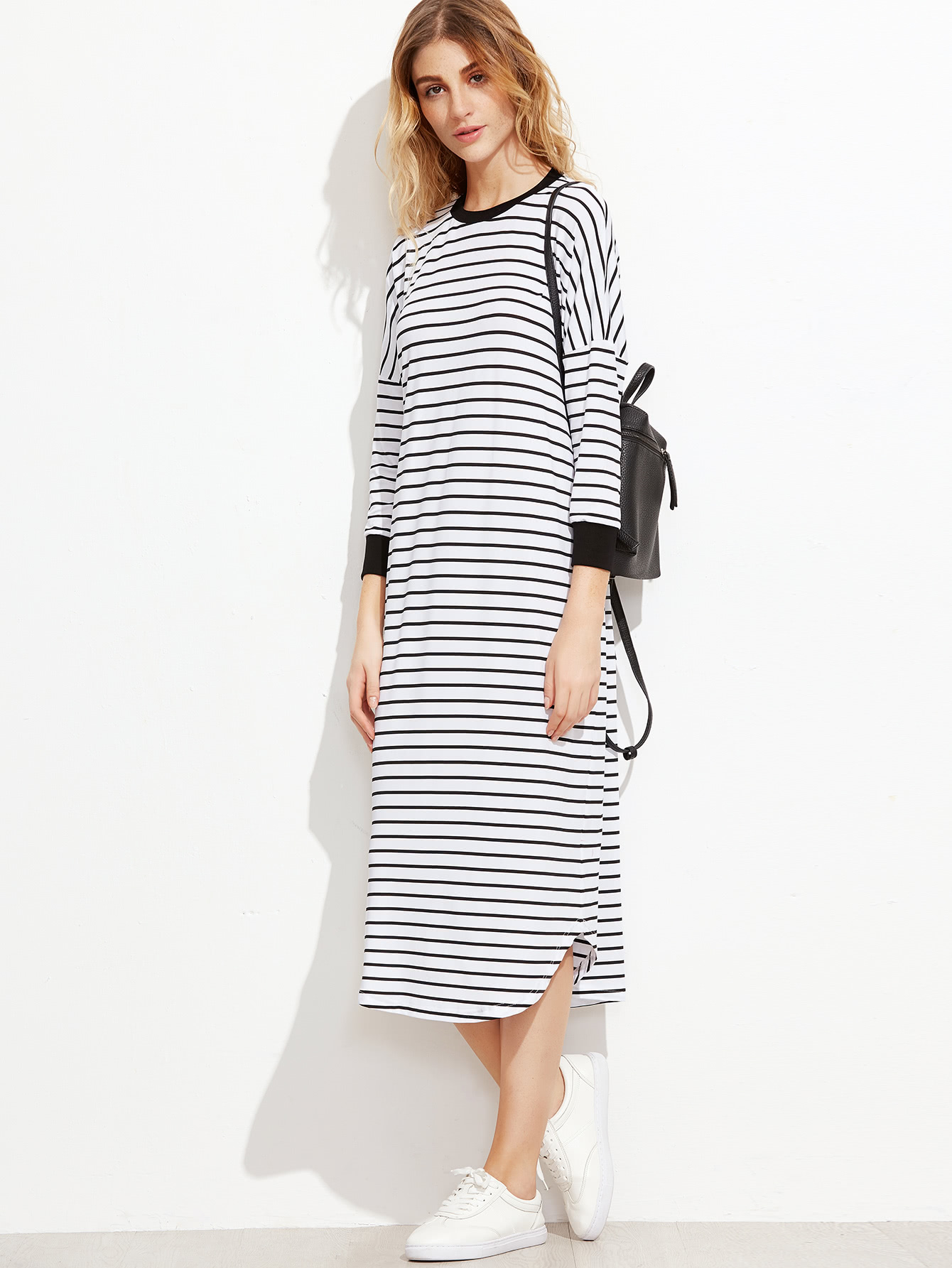 Striped Contrast Trim Drop Shoulder Tee Dress two tone drop shoulder tee