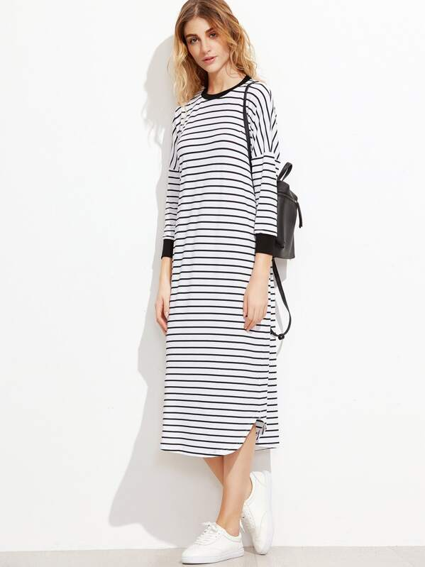 Striped Contrast Trim Drop Shoulder Tee Dress, Nathane