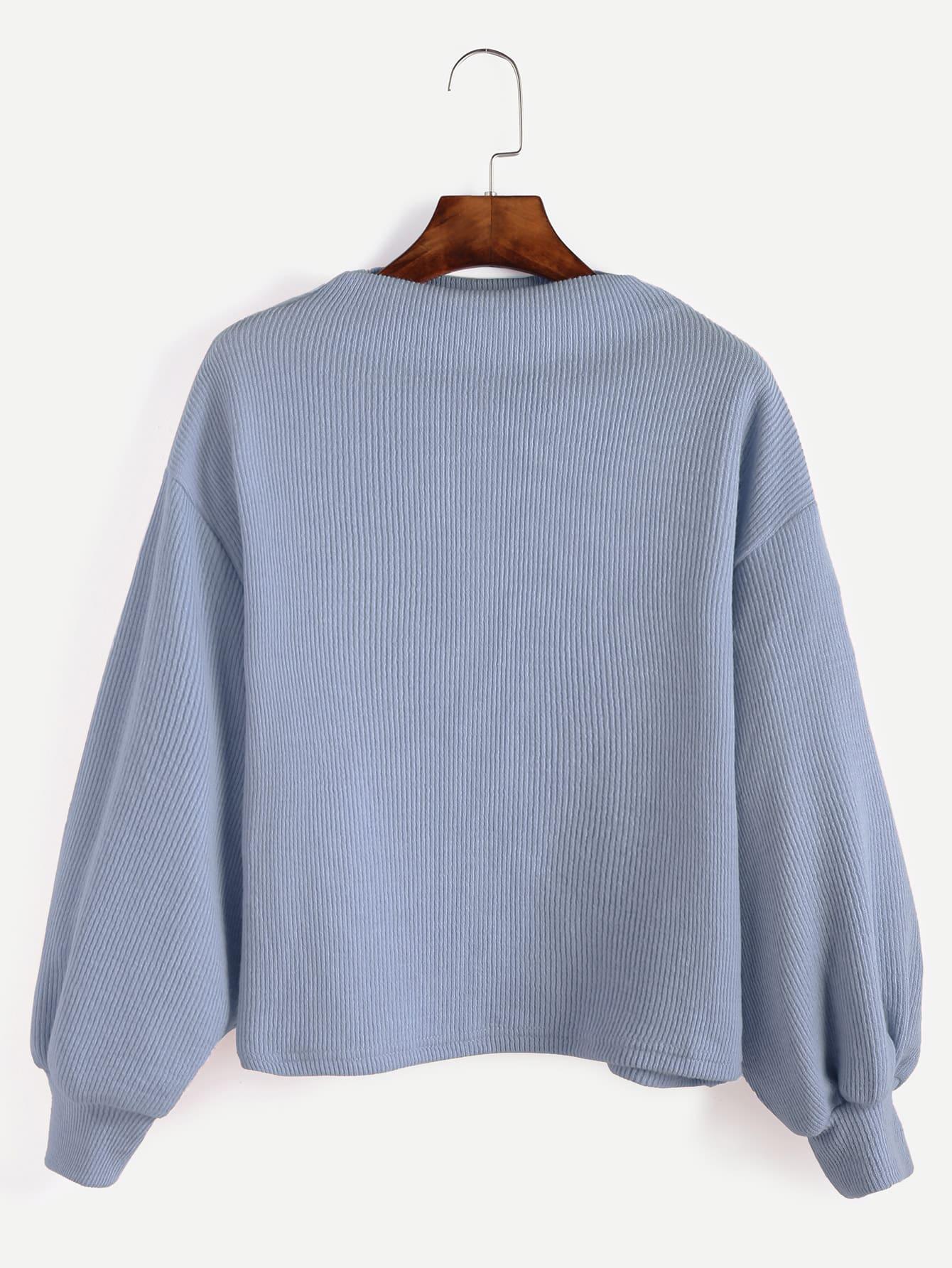 Blue Ribbed Lantern Sleeve Sweater sweater161014002