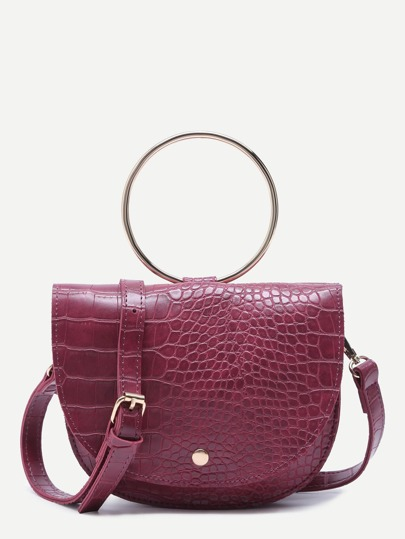 Maroon Croc Embossed PU Matel Ring Flap Saddle Bag