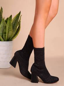 Black Faux Suede Mid Calf Almond Toe Chunky Boots
