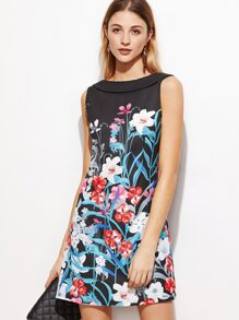 Black Flower Print Shawl Collar V Back Dress