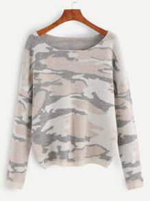 Multicolor Camo Pattern Drop Shoulder Sweater