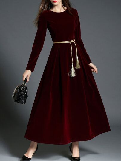 Burgundy Tie-Waist Velvet Maxi Dress