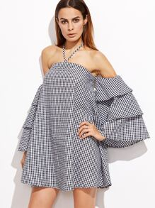 Black Gingham Halter Neck Layered Bell Sleeve Dress