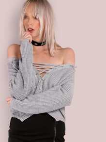 Lace Up Waffle Knit Sweater GREY