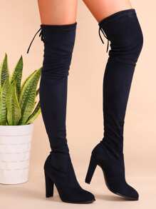 Botas de terciopelo en punta con cordón - azul marino