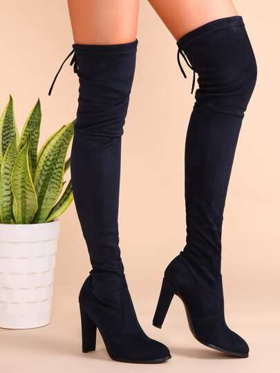 Navy Velvet Point Toe Lace Back Over The Knee Boots