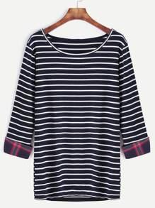T-shirt mit Streifen Kontrast Karierte Manschette-marine