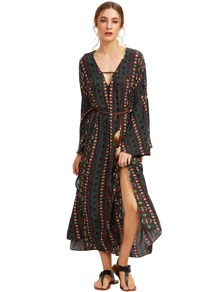 Tribal Print Slit Bell Sleeve Self-Tie Long Dress