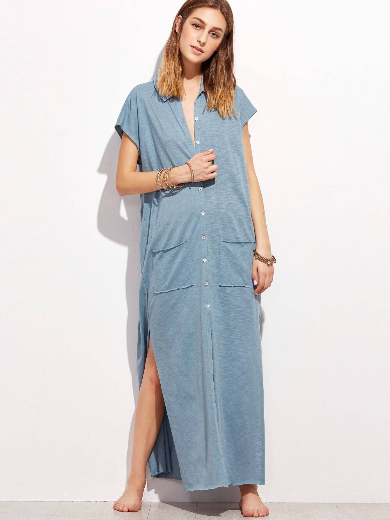 Raw Edge Side Slit Button Up Slub Dress