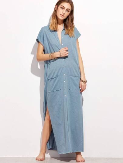 فستان أزرق بفتحة وأزرار