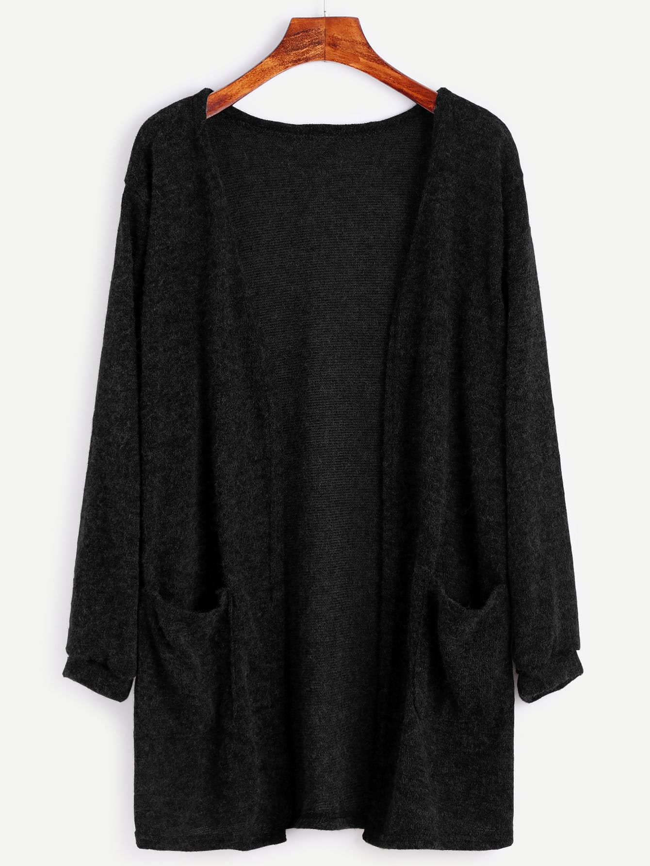 Fuzzy Cardigan Sweater With Pockets -SheIn(Sheinside)