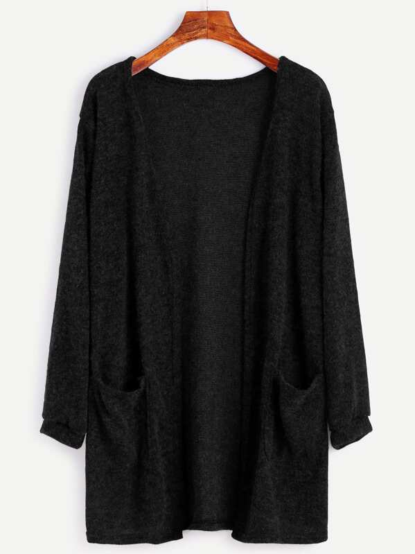 Fuzzy Cardigan Sweater With Pockets, null