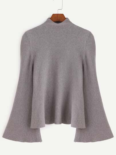 Mock Neck Fluted Sleeve Jersey Sweater