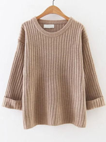 Khaki Ribbed Rolled Cuff Sweater