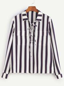 Navy And White Striped Lace Up Pocket Front Blouse