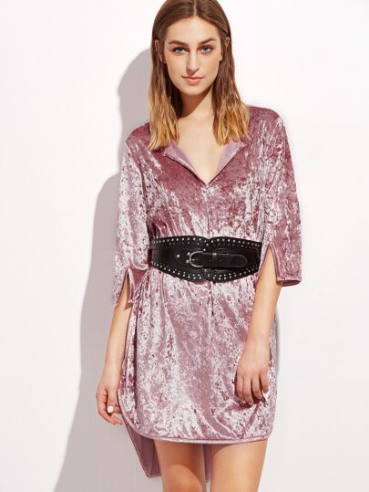 Pink 3/4 Sleeve High Low Crushed Velvet Dress